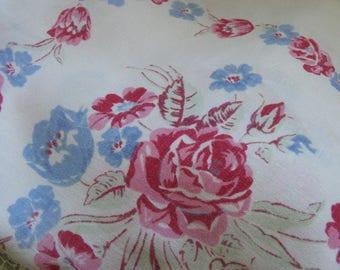 Vintage LINEN Floral Tablecloth ~~ Mid Century Floral Linen Tablecloth