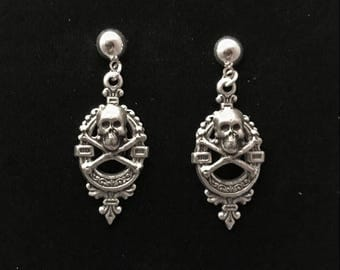 Small skull & crossbones earrings-silver plated-1.5 inches-Victorian style