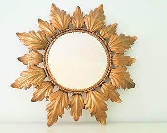 Espejo sol hojas ornamentadas / ornamented leaves sunburst mirror