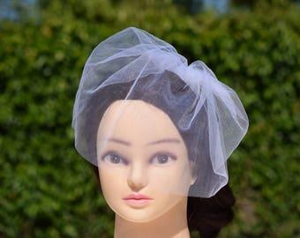 Bridal Veil, Tulle Birdcage Veil, Bridal Fascinator, Wedding Headdress, Bridal Hair piece, Blusher Veil, Champagne Tulle Birdcage Veil