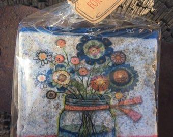Coaster Set- Mason Jar Coaster Set-Travertine tiles-Housewarming gift- Mason Jar Coaster set-Farmhouse Decor-Wedding gift