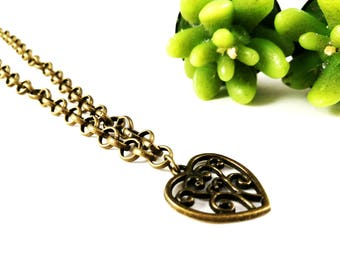 Antique Bronze Steampunk Heart Necklace For Her Women Jewellery Necklace Antique Bronze Pierced Heart For Her Steampunk