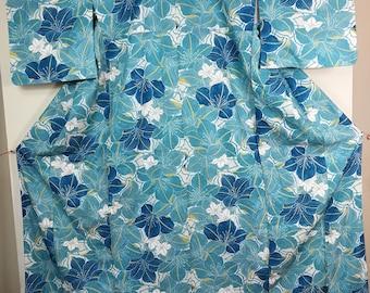 Floral Blue Traditional Japanese kimono
