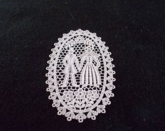 Bride and Groom, hearts and birds in Belgian Lace