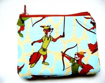 coin purse with fox made from cartoon fabric