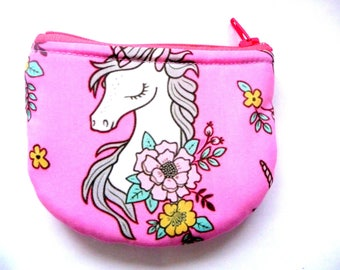 New! coin purse with unicorn made from fabric