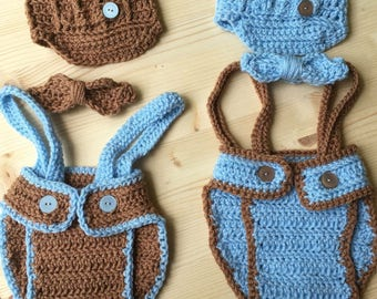 Newsboy photo prop, crochet, twins, photography, baby boy, news cap, suspenders, newborn, newborn photos, twin boys, matching twin outfit,