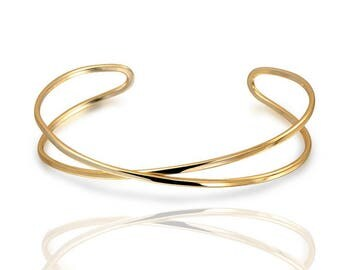 CROSS BANGLE, X gold bangle, Gold plated silver bracelet, dainty bracelet, simple, minimal bracelet