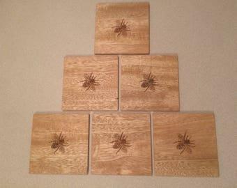 Bumble Bee Wood Coasters, Wildlife Coasters, Wood Coaster, Set of 6 coasters.