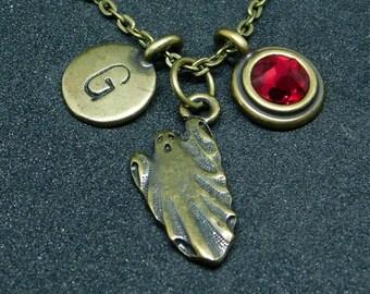 Bronze Ghost necklace, swarovski birthstone, initial necklace, birthstone necklace