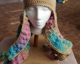 Crochet octopus hat with tentacles child or adult size
