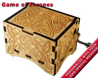 "Music Box, ""Game of Thrones"", Laser Engraved Wood Hand Crank Music Box"