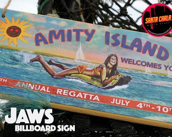 Jaws 'Amity Island/Beach closed' double-sided billboard Sign
