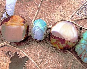 Earth tone! 5 gorgeous beads Bohemian 12 mm - freeform 2 speckled creamy caramel Mocha finishes