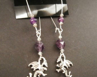 Hypoallergenic Dragon Earrings and Natural Amethyst Long Wire Earrings