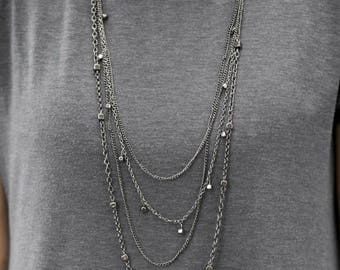 Statement Necklace - Multi Layer Necklace - Layered Necklace - Gun Metal Necklace - Long Statement Necklace - Bohemian Statement Necklace