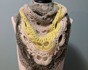 Lacy Crocheted Gray and Yellow Shawl Scarf , Lacy Wrap, Gray and Yellow Lacy Shawl, Summer Shawl Scarf, Gray and Yellow Wedding Shawl