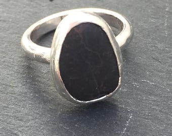 Pebble Ring, Natural Beach Stone, Handmade, Sterling Silver, Size N UK, Size 6.75 US, Black Ring, Stone Jewellery, Coastal, Summer, Festival