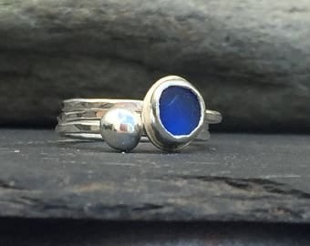 Sterling Silver Stacking Rings, Sea Glass Ring in Cobalt Blue, Silver Pebble Ring, Hammered Silver Ring, Unique Gift for Her, 3 Ring Set