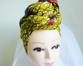 Green and Blue Butterfly Ankara Head wrap, DIY head tie, Stylish African head scarf, Fabric hair accessory – Made to Order