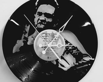 Johnny Cash Clock -  Middle Finger Vinyl Record Johnny Cash Clock