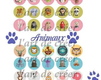 40 cabochons 25mm, animal Theme digital prints