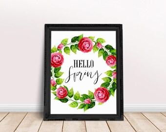 Hello Spring Art | Flower Art, Floral Wall Art, Spring Printable, Watercolor Floral, Nursery Wall Art, Immediate Download, Printable Poster