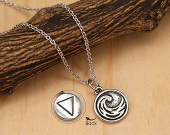 Water Necklace, Four Elements Necklace, Minimalist Necklace, Silver Necklace, Simple Necklace, Two sided Necklace BN991W-S7
