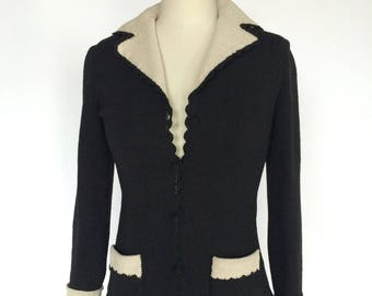 Vintage 1950's Bergdorf Goodman Black / White - Cardigan Sweater Jacket