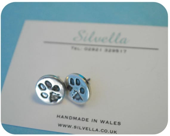 Fingerprint Jewellery - Silver Earrings - Actual Pet Prints Captured in Silver - Keepsake Jewellery - Handmade in Wales - Prints in Silver