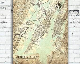 Jersey City Map Etsy - Map of jersey city