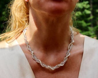 White pearl necklace, pearl twist necklace, silver and pearl necklace, sterling silver choker, pearl choker, silver chain pearl twist choker
