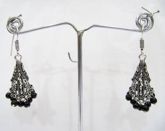 Beautiful Indian Earrings , Silver Oxidized Dangling Earrings With Black Beads , Jhumka / Jhumki Dangle Drop Earrings , Traditional Jewelry.