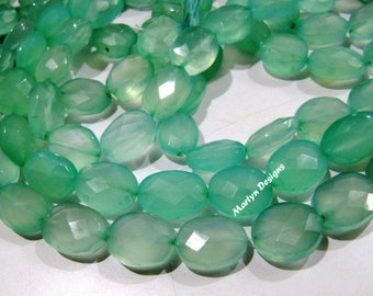 Best Quality Natural Aqua Chalcedony Nugget Beads , Oval Faceted Briolette Aqua Chalcedony Beads 9x12 to 10x14 mm , Strand 8 inches long.