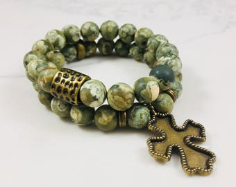 """Set of 2 """"Haley"""" Dragon blood jade beaded bracelets with cross charm // Fast and free shipping"""