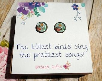 The littlest birds sing the prettiest songs, Bronze Post Earrings