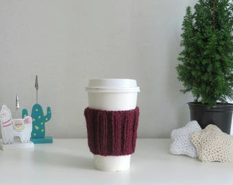 Burgundy Red Coffee Cup Sleeve | Hand Knit Cup Cosy | Fits Starbucks Cup | Gifts For Her | Stocking Fillers | Tea Cosy | Knit Coffee Cosy