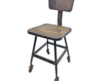 Vintage INDUSTRIAL STOOL rolling desk steel metal chair seat steampunk factory machine age loft black seating bar retro wood drafting gray