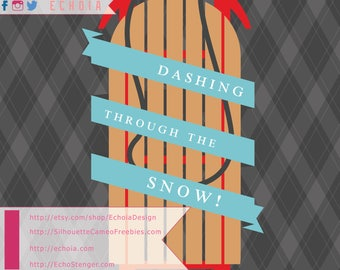 Dashing Through The Snow Sled - SVG, PNG, and DXF for printing/cutting