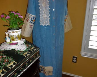 Hand Dyed Linen Hooded Duster, Dress, Crochet and Embroidered Accents, Size L-XL, Upcycled