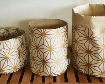 Gold geometric storage basket, fabric basket, plant pouch, storage, fabric bin, round fabric basket, bathroom storage, nursery.