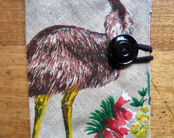 Passport cover, Emu passport cover, Australian passport cover, Handmade passport holder, Passport holder, Fabric passport cover