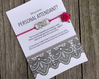 Will you be my personal attendant, Personal attendant, Personal attendant gift, Asking bridesmaids, Wish bracelet, Wishing bracelet, B3
