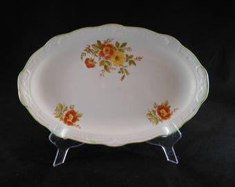 Vintage Swinnertons Staffordshire Oval Platter Orange and Yellow Floral Design  #  00160