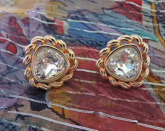 Swarovski Clear Crystal Triangle Clip On Earrings Signed SAL 1960s Statement