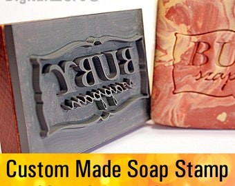 """Custom made  SOAP STAMP, personalized cookie stamp, soap mold seal resin DIY handmade under 3"""" - seifenstempel"""