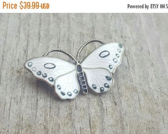 SALE Vintage Opro Sterling Norway Black & White Butterfly Petite Brooch Pin