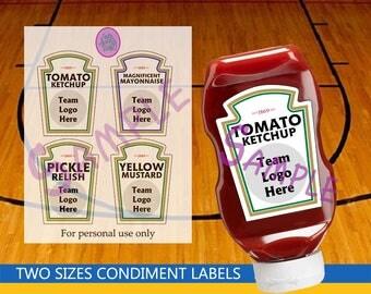 Team Logo Heinz Condiment Labels - Basketball - Baseball - Football - Hockey - Themed Birthday Party