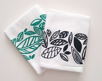 100% Cotton Tea Towel - Leaves Screen Print Pattern