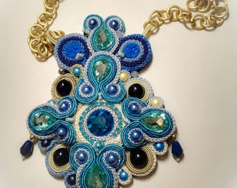 Soutache Pendant Necklace With glass Cabochons and beads of Bohemia